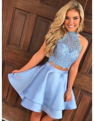 Two Piece Open Back Blue Satin Prom/Homecoming Dress with Lace