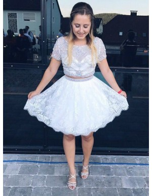 Two Piece Round Neck White Homecoming Dress with Beading Lace
