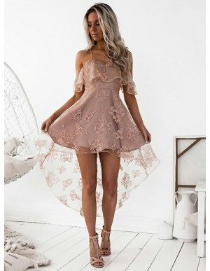 High Low A-Line Spaghetti Straps Blush Lace Homecoming Cocktail Dress