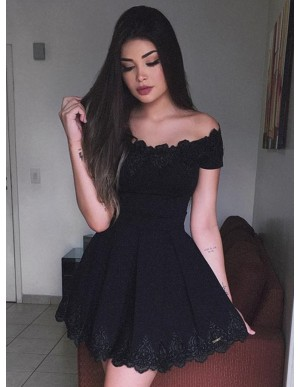 A-Line Off-the-Shoulder Short Sleeves Black Lace Homecoming Dress