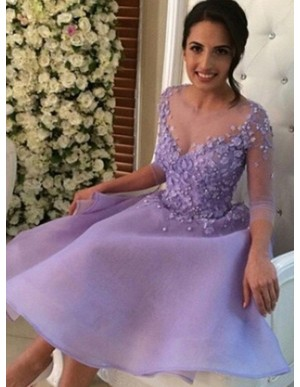 A-Line Round 3/4 Sleeves Lavender Chiffon Satin Homecoming Dress with Appliques