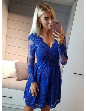 A-Line V-Neck Long Sleeves Royal Blue Homecoming Dress with Appliques