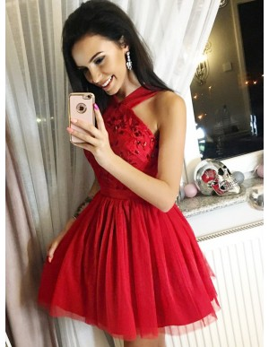 A-Line Cross Neck Short Red Tulle Homecoming Dress with Beading