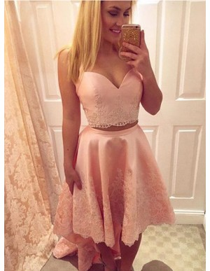 Two Piece Straps High Low Pink Satin Homecoming Dress with Lace