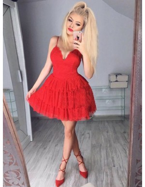 A-Line Spaghetti Straps Backless Red Tired Homecoming Dress with Lace