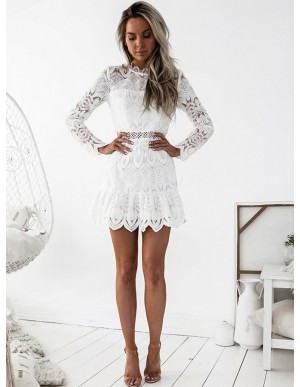 A-Line Round Long Sleeves Short White Lace Homecoming Dress with Eyelet