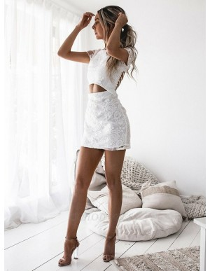 Sheath Round Neck Short Sleeves Lace White Homecoming Dress