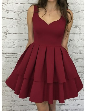 A-Line V-Neck Sleeveless Short Tiered Burgundy Homecoming Party Dress
