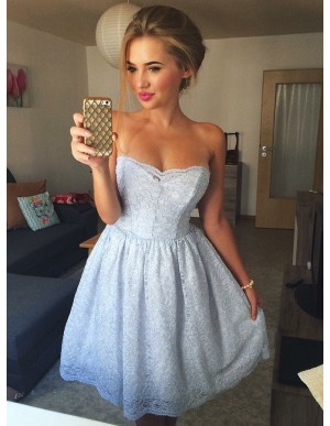 A-Line Strapless Above-Knee Light Blue Lace Homecoming Dress