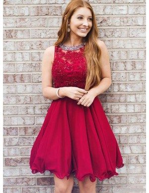 A-Line Round Neck Above-Knee Red Homecoming Dress with Appliques Beading