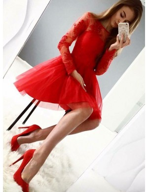 A-Line Long Sleeves Short Red Homecoming Dress with Appliques
