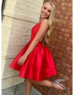 A-Line V-Neck Open Back Short Black Red Satin Homecoming Dress