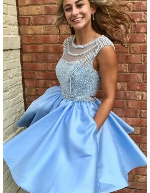 A-Line Jewel Open Back Blue Satin Homecoming Dress with Pockets Beading