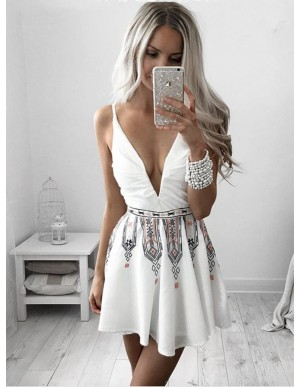 A-Line Deep V-Neck Short White Printed Homecoming Cocktail Dress with Ruched
