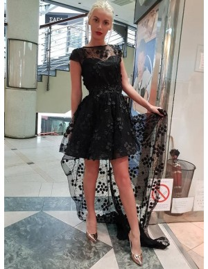 A-Line Crew Cap Sleeves High Low Black Homecoming Dress with Appliques Beading