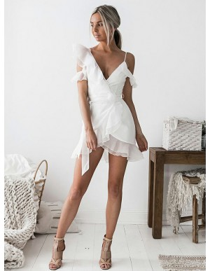 Sheath V-Neck Short Sleeves Short White Chiffon Homecoming Cocktail Dress with Ruffles
