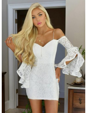Sheath Off-the-Shoulder Bell Sleeves Short White Lace Homecoming Cocktail Dress