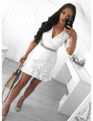 Sheath V-Neck Short Sleeves Above-Knee White Lace Homecoming Cocktail Dress