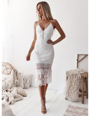 Sheath Spaghetti Straps Mid-Calf White Lace Prom Homecoming Dress