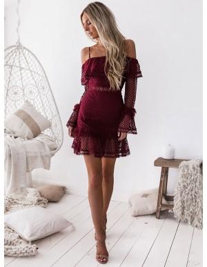Sheath Spaghetti Straps Long Sleeves Short Burgundy Lace Homecoming Dress with Ruffles