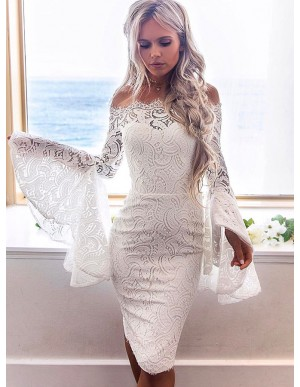 Sheath Off-the-Shoulder Bell Sleeves Knee-Length White Lace Homecoming Dress