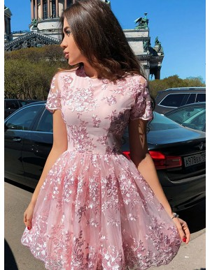 A-Line Crew Short Sleeves Short Pink Homecoming Dress with Appliques