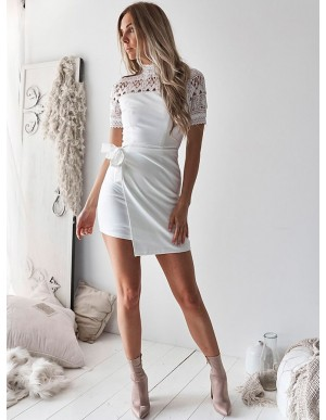 Sheath High Neck Short White Homecoming Dress with Lace