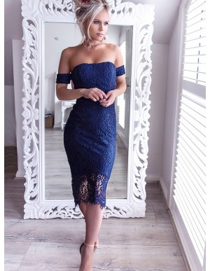 Sheath Off-the-Shoulder Tea-Length Navy Blue Lace Prom Homecoming Dress
