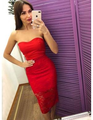 Sheath Sweetheart Tea-Length Red Lace Cocktail Dress