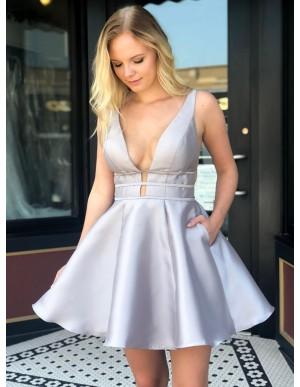 A-Line Deep V-Neck Short Light Grey Homecoming Dress with Pockets