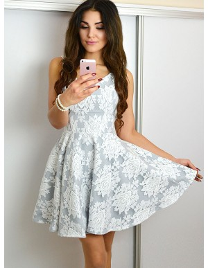 A-Line V-Neck Sleeveless Above-Knee Grey Lace Homecoming Dress