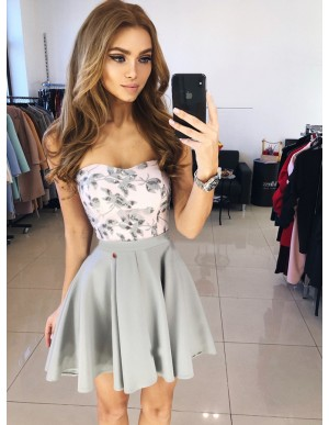 A-Line Sweetheart Short Grey Homecoming Party Dress with Appliques
