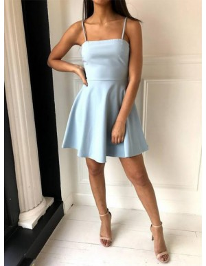 A-Line Spaghetti Straps Open Back Light Blue Short Homecoming Dress