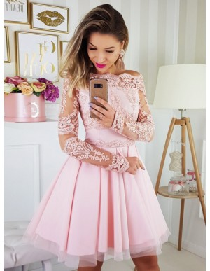 A-Line Off-the-Shoulder Long Sleeves Above-Knee Pink Homecoming Dress with Appliques