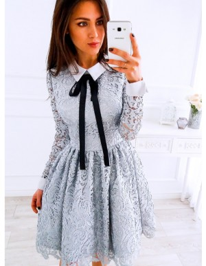 A-Line Crew Long Sleeves Above-Knee Grey Lace Homecoming Party Dress