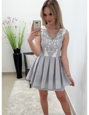A-Line V-Neck Above-Knee Grey Homecoming Dress with Appliques Pleats