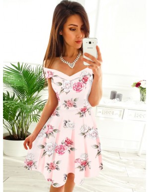 A-Line Off-the-Shoulder Above-Knee Pearl Pink Printed Homecoming Party Dress