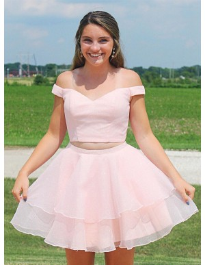Off-the-Shoulder Pink Short Two Piece Homecoming Dress with Tiered