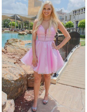 A-Line V-Neck Backless Pink Short Homecoming Dress with Beading