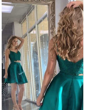 Simple Short Dark Green Two Piece Homecoming Dress with Lace