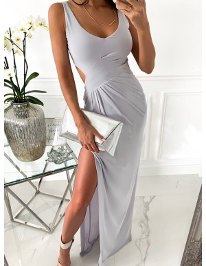 Sheath Long Grey Prom Dress with Split Open Back Party Dress