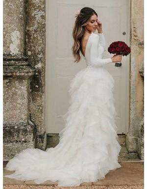 Princess A-Line Jewel Tiered Backless Wedding Dress with Sleeves