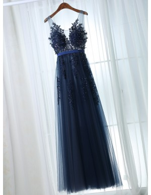 A-Line Scoop Backless Navy Blue Tulle Prom Dress with Appliques