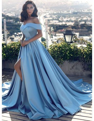A-Line Off-the-Shoulder Court Train Blue Prom Dress with Pockets Split