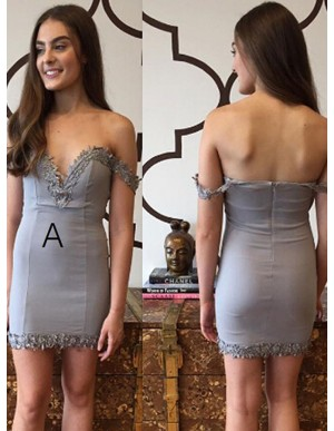 Sheath Off-the-Shoulder Appliques Grey Short Homecoming Cocktail Dress